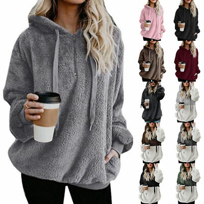 Womens Winter Fluffy Fur Sweatshirt Hoodie Jumper Cardigan Hooded Tops Pullover