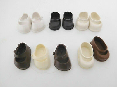 """Vintage 1950's Lot of 11 Vinyl Shoes for 8"""" Dolls 3 Pair & 5 Odd"""