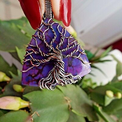* PURPLE COPPER TURQUOISE WIRE-WRAPPED TREE OF LIFE PENDANT * .925 Ster. Silver