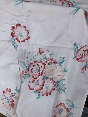 Vintage Used Tablecloth - Charming! 1940's-1950's Red And Turquoise  50 X 48