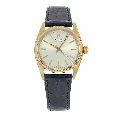 Vintage Rolex Oyster Perpetual Silver Dial 14K Yellow Gold Ladies Watch 6551