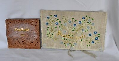 2 Vintage Leather Handkerchief Pouches