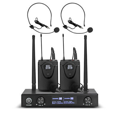 Pro Audio UHF Wireless Microphone System 2 Channel 2 Lavaliers 2 Lapel 2 Headset