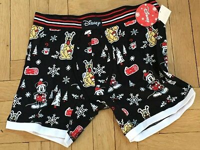 Disney Mickey Mouse and Pluto Christmas Boxer Briefs Black S,  L and XL NWT