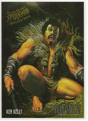 "1995 Fleer Ultra Spiderman Le Golden Web Chase Karte "" Kraven "" #4 Of 9 Kelly"