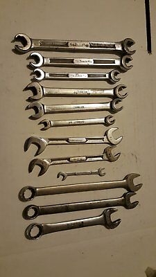 Snap-on Tools Lot of (13) Assorted Wrenches  Combination, Open End, Flare