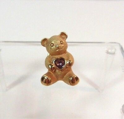 "Avon Collectible Gold BEAR PIN BROOCH 1"" with Purple HEART Stone '80s"