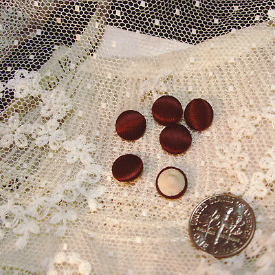 "ONE antique vtg french tiny small 1/4"" deep burgundy silk doll button doll-dress"