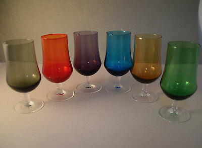 1950s Vintage HARLEQUIN 6 Pc HAND-CRAFTED Colour Art Glass WINE GLASSES VG