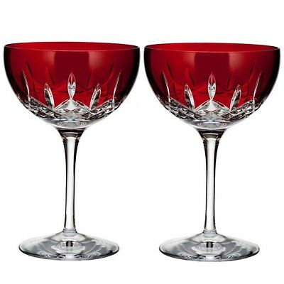 Waterford Crystal Lismore Pops Red Cocktail Glasses Set of 2 #40026613 New Boxed