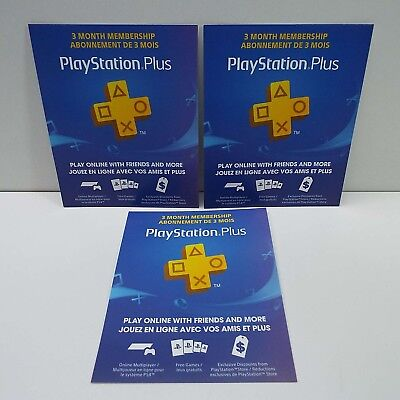 3X PlayStation PLUS Membership CARD - Sub 3 MONTH - TOTAL 9 MONTH - PSN PS3 PS4