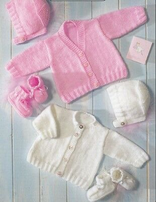 Baby Toddler Knitting Pattern copy 8 Ply Cardigans Bonnets Bootees +PREMMIE size