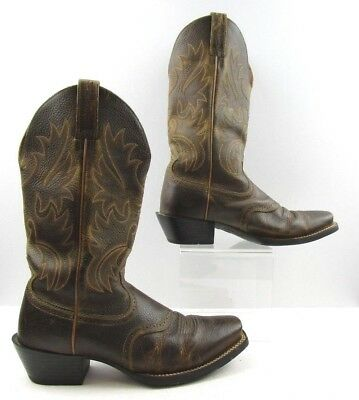 9d8346201b2ee ARIAT BROWN Square Toe Leather Western Cowboy Boots Size 5 M - $9.25 ...