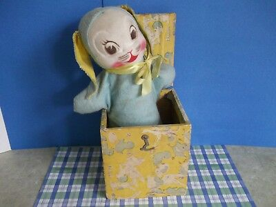 "ANTIQUE,VTG.CHILDS BUNNY,RABBIT~SPRINGS UP! ""jack-in-box""style~VERY PRETTY"