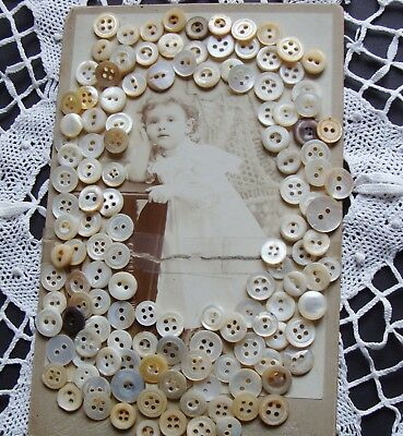 125 Diminutive Antique Mother of Pearl Shell Buttons Baby Doll Clothes