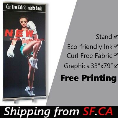 33x80,Standard Retractable Roll Up Banner Stand + Free & Eco-friendly Printing