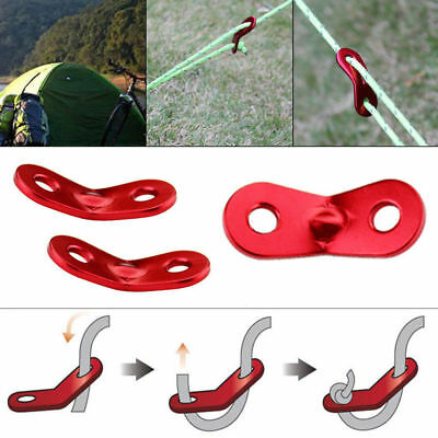 10x Camping Tent Awning Column Guy Line Runners Rope Tensioners Anti-slip Red