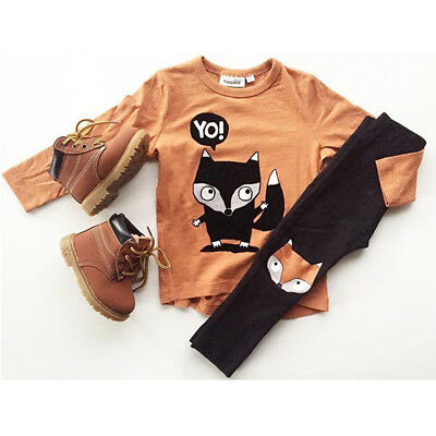 USA Newborn Toddler Kids Baby Boys Cotton Tops Long Pants Outfits Sets Clothes