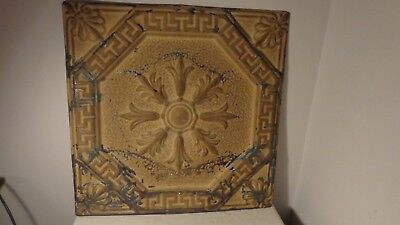 antique/vintage tin ceiling tile in gold tone, NICE CONDITION!