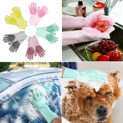1 pair Multi-functional Silicone Rubber Dish Washing Car Scrubber Gloves Tools