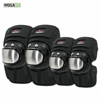 Motorcycle Stainless Steel Knee Elbow Pads Set Guard Sport Protective Gear Adult