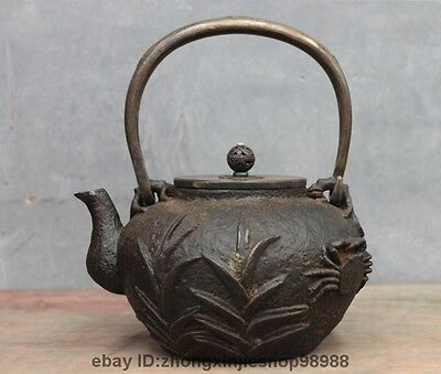 Archaic Japan Japanese  Iron  Orchid Flower Crab  Flagon Kettle Wine Tea Pot