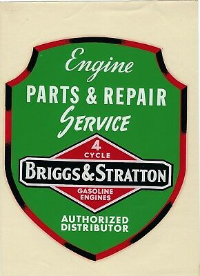 VTG 1950's Briggs & Stratton Parts & Repair Service Authorized Distributor Decal