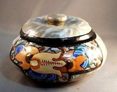 RARE French Art Deco Vintage Louis Dage Covered Jar w/Curdled Glaze!  Awesome!