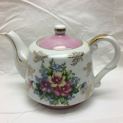 Vintage Teapot Royal Crown Fine China 4036 Ornate Flowers Design