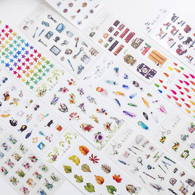Cute Cartoon Floral Stickers Calender Diary Letter Adhesive Paper Decor Craft