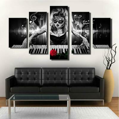 DEAD GIRL ON PIANO Musical Instruments Canvas Wall Art Print