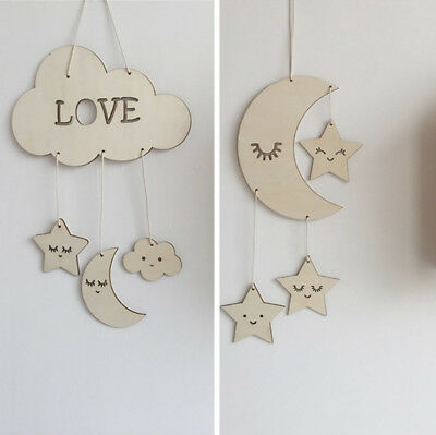 1PC Wooden Nordic Moon Star Clouds Kids Room Wall Hanging Ornaments Home Decor