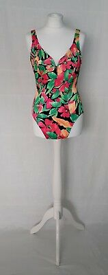 Longitude 1980's vintage one piece bright floral print swimsuit US14 UK12