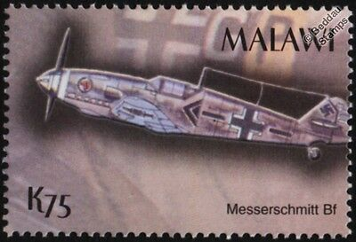 WWII Luftwaffe Messerschmitt Bf-109 Fighter Aircraft Stamp (2003 Malawi)