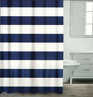 Shower Curtain Wide Stripes Fabric Shower Curtain White Navy Silver
