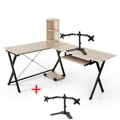 L Shaped Computer Desk Corner Desk Student Table Home Office with Moniter Stand