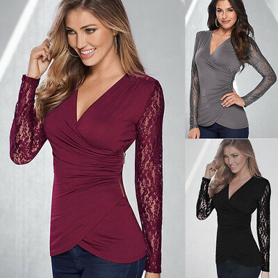 UK Womens Lace Sleeve Top Blouse Pullover Ladies Low Cut T-shirt Slim Shirt 6-16