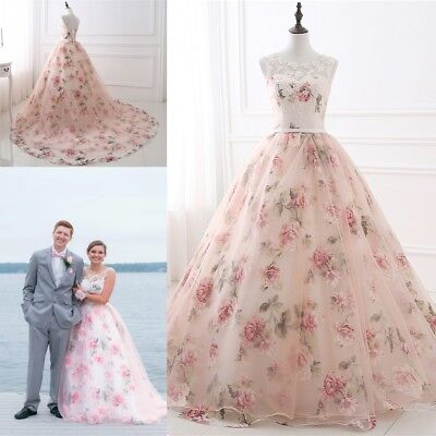 Pink Bridal Women Floral Print Evening Dress Long Wedding Formal Party Prom Gown