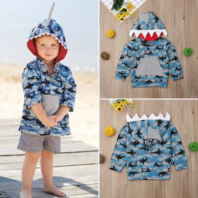 Toddler Kid Baby Boy Shark Hooded Tops Camo Jacket Coat Outerwear Casual Clothes