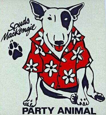Original Vintage 80s Spuds MacKenzie Iron On Transfer Budweiser Party Animal
