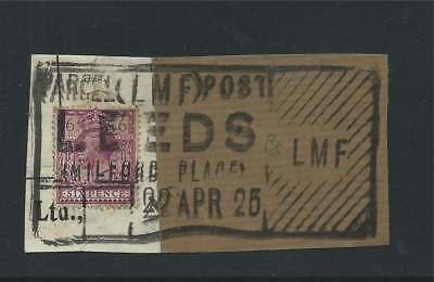 GB 1925 6d on Piece with Milford Place Leeds Parcel Post Cancel