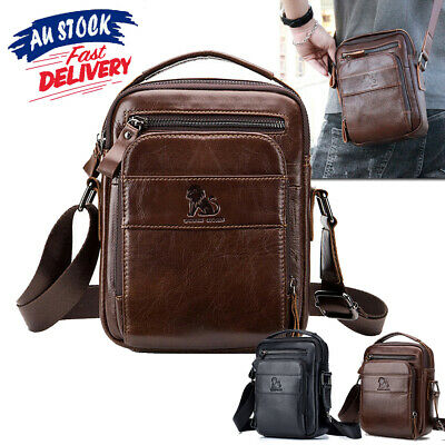 Mens Crossbody Bags Genuine Leather Vintage Business Shoulder Messager Handbag