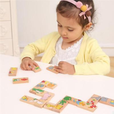 Animal Colored Wooden Toys Dominoes Building Blocks Stacking Gift 8C