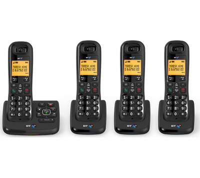 BT XD56 Cordless Phone with Answering Machine - Quad Handsets - Currys