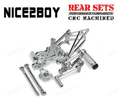 CNC Billet Race Rearset Adjustable Rear Fit 2009-2014 Honda CBR600RR/ABS Silver