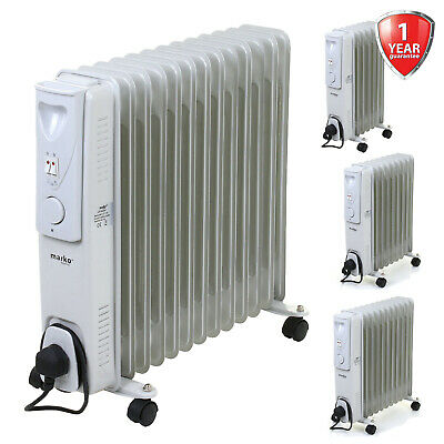 Oil Filled Radiator Portable Electric Heater Thermostat Home Office Fire 3 Sizes