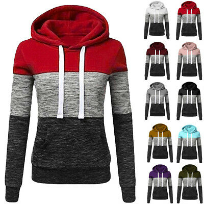 Fashion Women Casual Hoodies Sweatshirt Patchwork Blouse Hooded Blouse Pullover