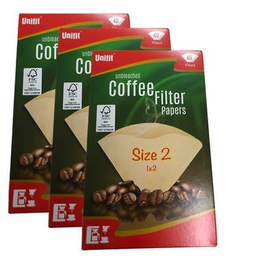 120 X Size 102 1X2 Coffee Filter Paper Cones Unbleached For DeLonghi/Melitta