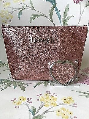 Benefit Branded Rose Pink Glitter Beauty Make Up Cosmetic Bag & Compact Mirror