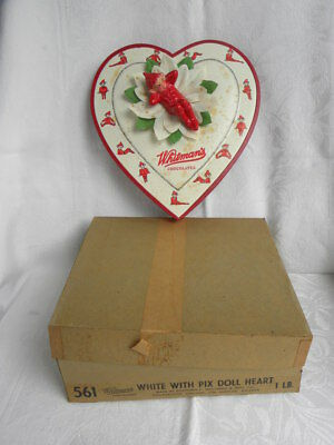 Vtg Whitman's Chocolates Valentine's Day White w/Pixie Elf Doll Heart-Shaped Box